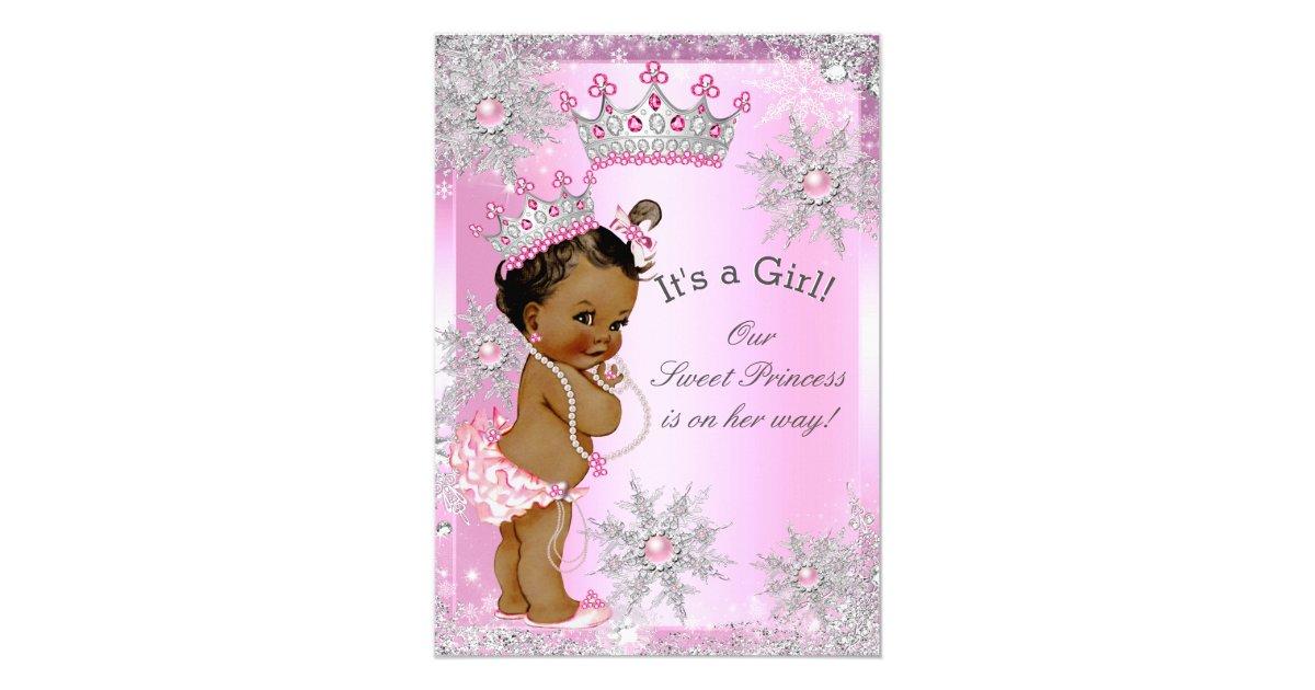 ethnic sweet princess baby shower wonderland pink card zazzle