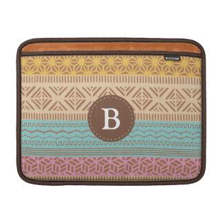 Ethnic Tribal Geometric Girly (Pastel) Monogram MacBook Sleeve