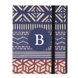 Ethnic Tribal Geometric Girly  (Purple) Monogram iPad Folio Cases