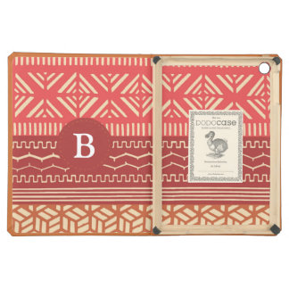 Ethnic Tribal Geometric Girly (Red) Monogram Cover For iPad Air