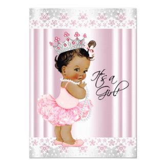 Ethnic Tutu Ballerina Pearl and Lace Baby Shower 5x7 Paper Invitation Card