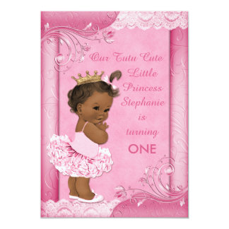 Ethnic Tutu Cute Baby 1st Birthday Faux Lace Card