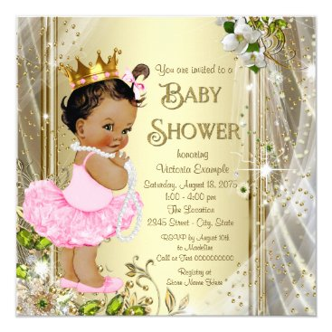 Ethnic Tutu Princess Pink Gold Baby Shower Card