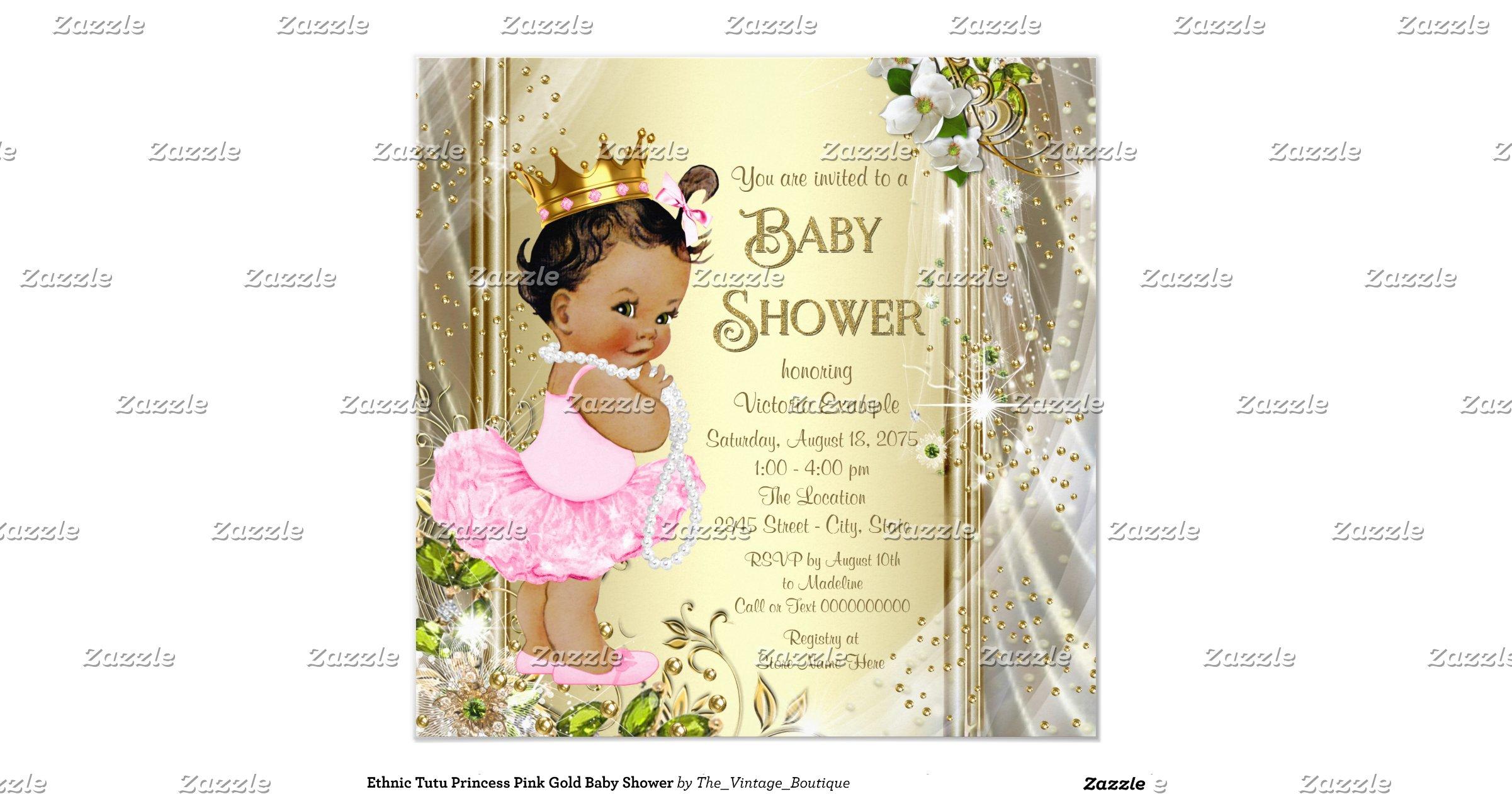 ethnic tutu princess pink gold baby shower invitation