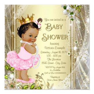 Ethnic Tutu Princess Pink Gold Baby Shower 5.25x5.25 Square Paper Invitation Card
