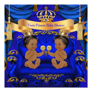Ethnic Twin Baby Shower Boy Prince Blue Gold Card