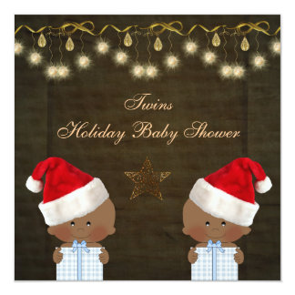 """Ethnic Twin Boys Christmas Baby Shower 5.25"""" Square Invitation Card"""