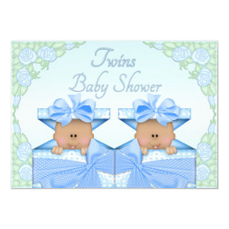 Ethnic Twin Boys in Gift Box Roses Baby Shower Card