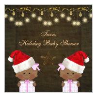 Ethnic Twin Girls Christmas Baby Shower Card
