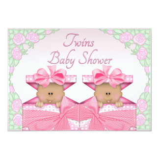 Ethnic Twin Girls in Gift Box Roses Baby Shower Card