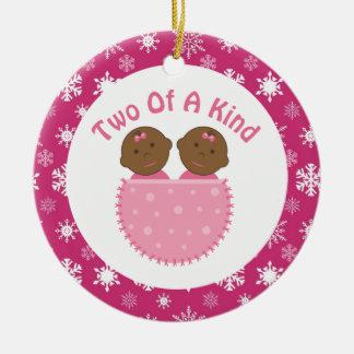 Ethnic Twin Girls Pink Keepsake Gift Ornament