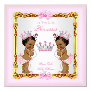 Ethnic Twin Girls Princess Baby Shower Gold Pink Card at Zazzle