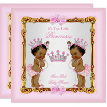 Ethnic Twin Girls Princess Baby Shower Gold Pink Invitation