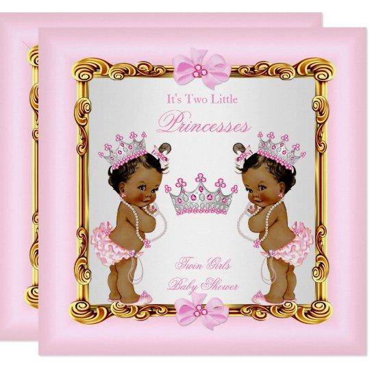 Ethnic Twin Girls Princess Baby Shower Gold Pink Invitation Zazzlecom
