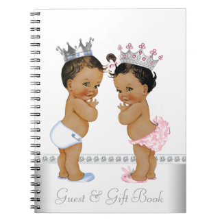 Ethnic Twin Prince and Princess Baby Shower Book Spiral Notebook
