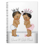 Ethnic Twin Prince and Princess Baby Shower Book Spiral Notebooks