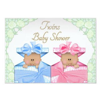 Ethnic Twins in Gift Box Roses Baby Shower Card