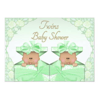 Ethnic Twins in Gift Box Roses Neutral Baby Shower Card