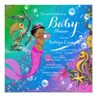 Ethnic Under the Sea Mermaid Baby Shower Card