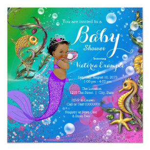 Under the sea baby shower invitations zazzle ethnic under the sea mermaid baby shower invitation filmwisefo