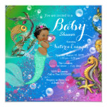 Ethnic Under the Sea Mermaid Baby Shower 5.25x5.25 Square Paper Invitation Card