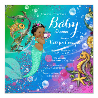Ethnic Under the Sea Mermaid Baby Shower Invitation