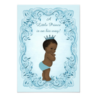 Ethnic Vintage Prince Blue Baby Shower 5x7 Paper Invitation Card