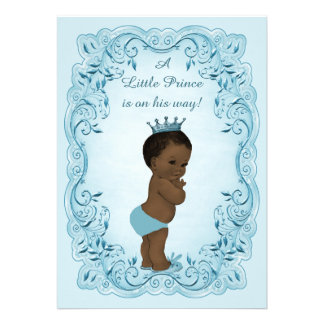 Ethnic Vintage Prince Blue Baby Shower Invitation
