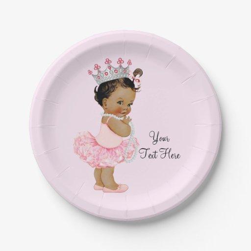 Ethnic Vintage Princess Ballerina Baby Shower 7 Inch Paper Plate