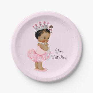 Ethnic Vintage Princess Ballerina Baby Shower Paper Plate