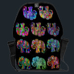 """Ethno Colorful Pyschedelic Ornamental Elephants Courier Bag<br><div class=""""desc"""">This beautiful bag features an eye-catching pattern of colorful ornamental abstract psychedelic ethno-style elephants which vary in hues and vibrancy. An original design available exclusively at &#169;EleSil online store.</div>"""