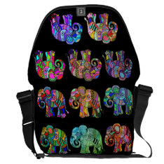 Ethno Colorful Pyschedelic Ornamental Elephants Courier Bag at Zazzle