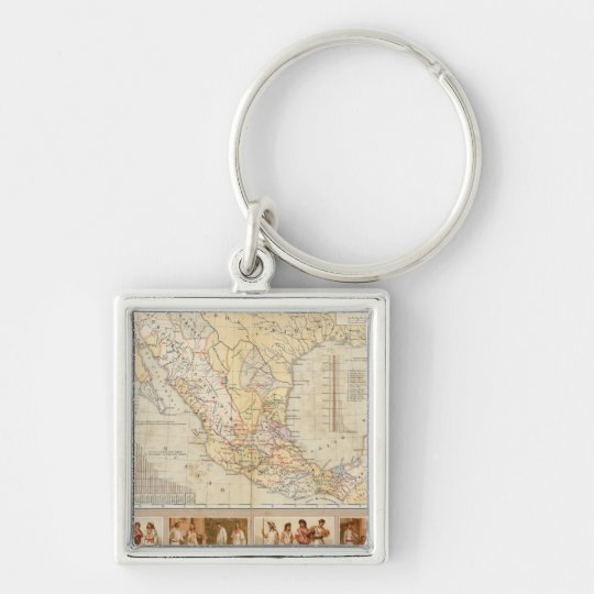 Ethnographic Chart of Mexico Keychain