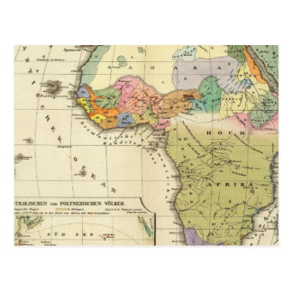 Ethnographic Map of Africa Postcard