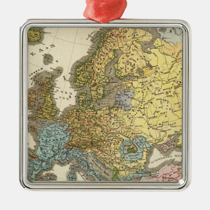 ethnographic map of Europe Metal Ornament