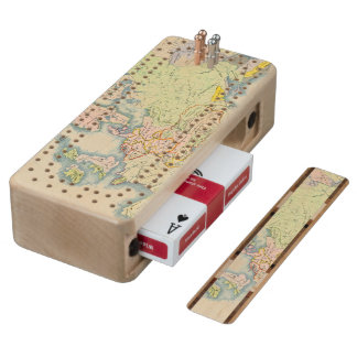 Ethnographic map of Europe Wood Cribbage Board