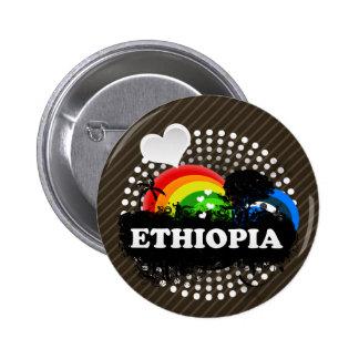 Etiopía con sabor a fruta linda pin redondo de 2 pulgadas