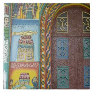 Etiopía:  Región de Tigray, Axum, iglesia de Crist Azulejo Cuadrado Grande