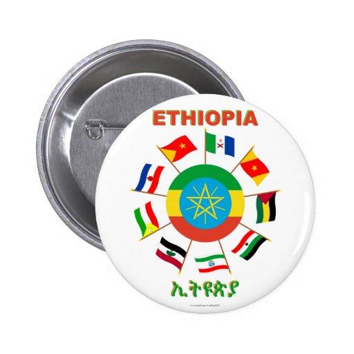 Etiopía señala el molinillo de viento por medio de pin redondo 5 cm