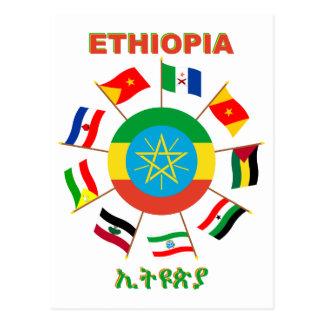 Etiopía señala el molinillo de viento por medio de tarjetas postales