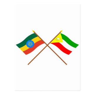 Etiopía y banderas cruzadas somalíes postal