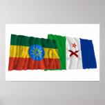 Etiopía y banderas lejos que agitan posters