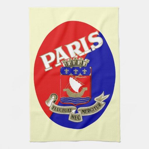 Etiqueta 1925 del equipaje de París Toalla De Cocina