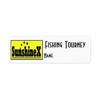 Etiqueta 1 del nombre del torneo de la pesca etiquetas de remite