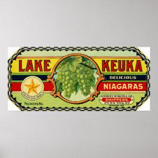 Etiqueta 2 de las uvas de Keuka Niágara del lago Póster