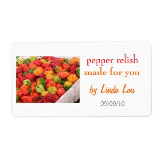 Etiqueta 2 de los cotos del condimento de la pimie etiqueta de envío