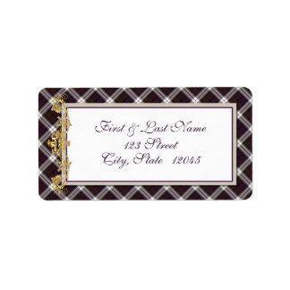 Etiqueta 2 del correo del tartán y del cardo del etiquetas de dirección