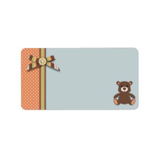 Etiqueta 2 del regalo del muchacho del oso del oso etiqueta de dirección