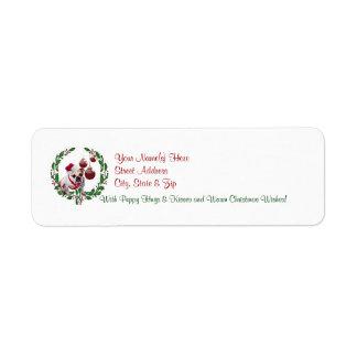 Etiqueta #3 del remite de los deseos del navidad etiqueta de remitente