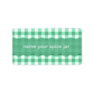 Etiqueta a cuadros de la cocina del diseño de la etiquetas de dirección